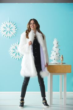 As seen in Stitch, Winter 2015 Stitch @interweave - White Faux Fur Coat by Emily Li Mandri. Featuring our Faux Fur Arctic Fox White  http://www.shannonfabrics.com/faux-fur/solids/arctic-fox-fur-white http://www.shannonfabrics.com/index.php?main_page=index&cPath=969_998 Image by Donald Scott