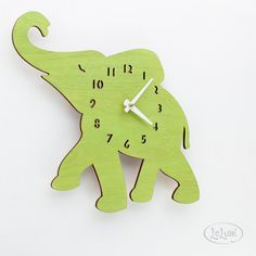 "The ""Baby Lime Green Elephant"" designer wall mounted clock from LeLuni. $52.00, via Etsy. u need this for lucy's nursury"