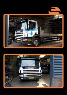 Bij een nieuwe vrachtwagen hoort een nieuwe belettering, Screen Promotion heeft de belettering gedaan voor de vrachtwagen van John Bruinen.