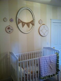 Vintage hoops lace embroidery bunting wall decor