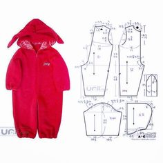 hooded one piece outfit Baby Girl Dress Patterns, Baby Clothes Patterns, Baby Patterns, Clothing Patterns, Baby Sewing Projects, Sewing For Kids, Sewing Baby Clothes, Diy Clothes, Baby Boy Outfits