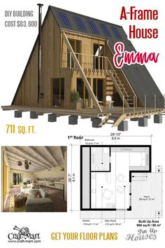 """Emma"" is a very cozy small house really well-designed for modern living.A-frame small house plans named Emma is not a tiny house sporting almost 750 sq. of the combined living area. Unique Small House Plans, Small House Floor Plans, Small House Plans Under 1000 Sq Ft, Small House Diy, Small Houses, A Frame House Plans, House Plan With Loft, Shed House Plans, A Frame Floor Plans"
