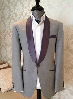 I could do this, no tie. Maybe the reception. Shawl lapel in grey-purple, light grey tux.