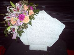 Mother memory stone with flowers
