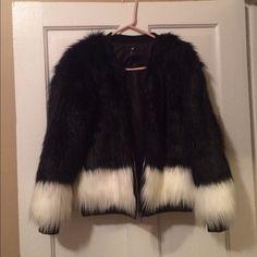 H&M black & white fuax fur Black & white fur H&M Jackets & Coats