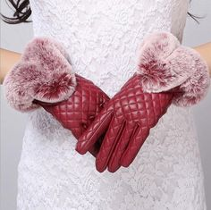Warm Faux Rabbit Fur Pu Leather Easy Click Touch Screen Smartphone Gloves