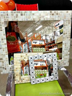 Tiling around a mirror - looks like my tile around the big one.  Do this around a small old mirror.