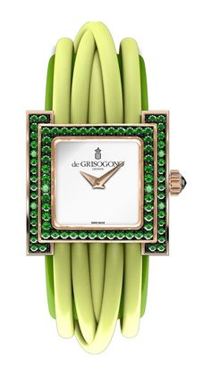 deGrisogono S01 Allegra Watch Quartz - швейцарские женские часы - наручные, золотые, дизайнерские, браслет - зеленые