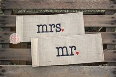 His and Hers Monogrammed Burlap or Seersucker or Gingham Can Wrap (set of two)