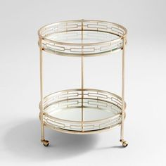 The Well Appointed House Two Tiered Gilded Bar Cart with Wheels
