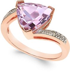 Pink Amethyst (3 ct. t.w.) and Diamond Accent Statement Ring in 14k Rose Gold