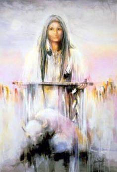 La mujer de ternero de búfalo blanco no es necesariamente una diosa nativa americana como uno podría pensar, pero es visto como más de un profeta para los pueblos Lakota. Pte Ska Win es su nombre Lakota y la historia cuenta que se le apareció a unos pocos hombres Lakota hace unos dos mil años. Se dice que ella presentó los pueblos Lakota con un regalo muy sagrado - una pipa de la paz sagrada que afirman que aún tiene en su poder la actualidad.