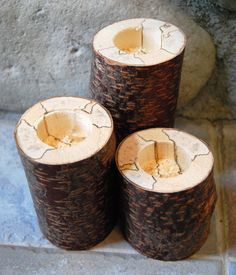 Birch Log Bark On Candle Holders  Cabin Decor by hackneydesigns, $24.99