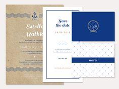 Collection Bleu Marine > Amoureux de la mer, plongez dans l'univers de cette papeterie « Bleu Marine » sans hésitation. Voguez du faire-part au remerciement en passant par le menu pour garder votre univers en fil rouge pour votre mariage.