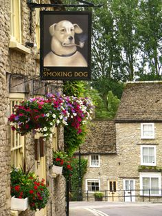 """""""The Smoking Dog Pub."""" In Malmesbury: A Market Town & Civil Parish in The Southern Cotswolds, County of Wiltshire, England. British Pub, British Isles, Pub Signs, Shop Signs, Uk Pub, Storefront Signs, Foto Poster, English Village, English Cottages"""