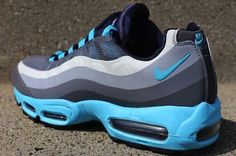 Mens Nike Air Max 95 No Sew Classic Sneakers New, Gray Gamma Blue 616190-040