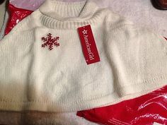 American Girl Holiday Capelet White Red Snowflake Size Small Sz S (7/8)  $28