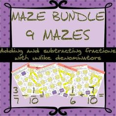 Adding and subtracting fractions with unlike denominators mazes (bundle) Adding And Subtracting Fractions, Maze, Fun Activities, Students, Check, Number, Products, Labyrinths, Gadget