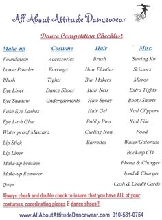 "Dance competition checklist. This is basic checklist of ""must have"" things that you should bring to any dance competition or recital event. Check out the blog fora more in depth information about preparing for and participating in dance competitions and dance recitals. conservativedancewear.blogspot.com"