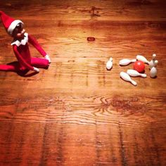 Pin for Later: Straight From the North Pole: 66 Places to Put Your Elf on the Shelf Elf Strike! Instagram user alfieontheshelf had her elf play with bowling pins!