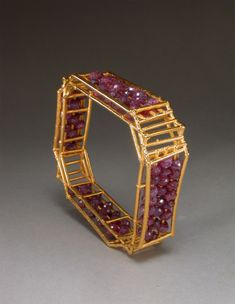 Charles Lewton Brain: Cage Ruby Bracelet, rubies, 24 K gold electroformed, stainless steel, copper,