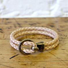 Ring & Hook Bracelet in Natural Leather