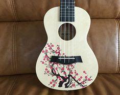 Custom Ukulele and Kalimba(Can use pictures of your pet dog) Kala Ukulele, Ukulele Art, Cool Ukulele, Ukulele Drawing, Ukelele Painted, Painted Guitars, Ukulele Design, Guitar Diy, Guitar Painting