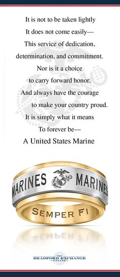 Let your Semper Fi spirit spin 'round and 'round. This distinctive stainless steel and 24K gold ion-plated ring honors your Marine loyalty with a unique spinning center band. Includes gift box.