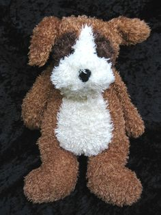 "Jellycat Bunglie Brown Tan White Boxer Puppy Dog Soft Lovey Stuffed Toy 17"" VHTF #Jellycat"