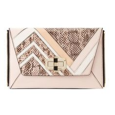 Diane von Furstenberg Agent Jordan Patchwork Leather Zip On Clutch (400 TND) ❤ liked on Polyvore featuring bags, handbags, clutches, blossom, pink leather purse, vintage leather handbags, leather purse, leather handbag tote and leather zipper tote