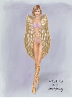 Gilded Angels drawing for the Victoria's Karlie Kloss. Illustration by Jane Kennedy www.janelkennedy.com