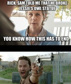Rick Grimes, Officer of Alexandria. Carol Peletier, Master of justice Walking Dead Clothes, Fear The Walking Dead, Walking Dead Funny Meme, Funny Things, Funny Stuff, Daryl Dies, Andy Lincoln, Melissa Mcbride, Funny Thoughts