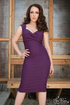 Pinup Couture Erin Wiggle Dress in Plum