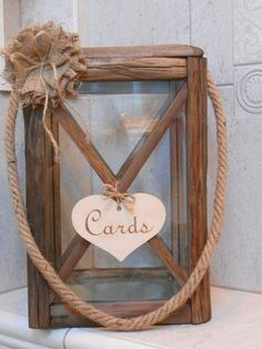 Wooden Lantern Wedding Card Holder / Rustic Wedding by TheLaceMoon
