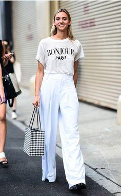 89ef6e44d019 Street style look com camiseta branca e culotte. Fashion Outfits
