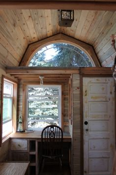 tiny house gambrel roof adds extra head room for loft Tiny House Plans, Tiny House On Wheels, Gambrel Roof, Micro House, Tiny House Living, Living Room, Tiny Spaces, Little Houses, Small Houses