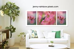 The Tender Spring Blooms. Triptych by Jenny Rainbow Chaenomeles, Fine Art Prints, Framed Prints, Japanese Flowers, Spring Blooms, Triptych, Home Art, Tapestry, Rainbow