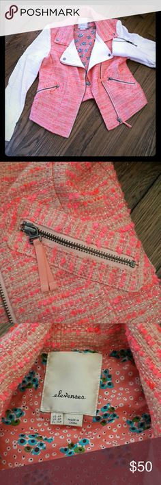 Anthropologie Blushed Tweed Moto Jacket Hardly worn! The petite size was too narrow for my broad shoulders but otherwise TTS 4p.  Love the zipper details. See it here: https://www.anthropologie.com/shop/blushed-tweed-moto-jacket Anthropologie Jackets & Coats Blazers