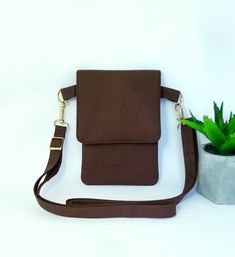Brown Bag.Canvas Compact Carry Bag.Bitter chocolate Bag.Unisex Small Crossbody Bag.Iphone Bag.Shoulder Cotton Bag.Cell Phone Wallet Beautiful Mask, Carry Bag, Small Crossbody Bag, Cotton Bag, Natural Leather, Bitter, Iphone Wallet, Travel Bags, Compact