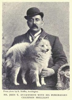 1902 White Pomeranian & Man photo 1902
