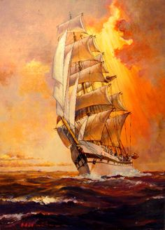#Sailing #Ship -Sunset- by Hideo Yamato, via Behance