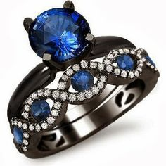 Noori 18k Black Gold Blue Sapphire and 12ct TDW Diamond Engagement
