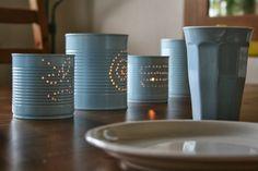 Leuchtkonserven / Food can lanterns Can Lanterns, Allg, Kids Room Art, Tin, Crafts For Kids, Canning, Storage, Tableware, Inspiration