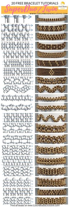 Glass SuperDuo or Twin Beads - 20 Easy Bracelet Techniques! - Free Tutorial (PDF) - Super Duo patternd -Czech Glass SuperDuo or Twin Beads - 20 Easy Bracelet Techniques! - Free Tutorial (PDF) - Super Duo patternd - Free pattern for necklace Tayana Seed Bead Jewelry, Bead Jewellery, Diy Jewelry, Jewelry Making, Jewelry Stores, Handmade Jewellery, Jewlery, Glass Jewelry, Handmade Bracelets