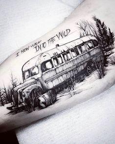 Into the wild tattoo Tribal Arm Tattoos, Black Tattoos, Hand Tattoos, Sleeve Tattoos, Cool Tattoos, Christopher Mccandless, Into The Wild, Alaska Tattoo, Hirsch Tattoo