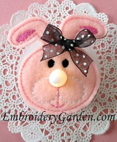 Bunny Flameless Tealight Pin by Embroidery Garden