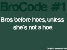 Bros before hoes, unless she's not a hoe. The Bro Code, Bettering Myself, Favim, Mood Quotes, My Way, Funny Texts, True Stories, Real Life, Boyfriend