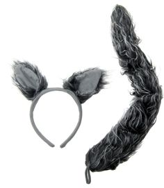 Wolf Ears and Tail Set | Wolf Costume Ears on a Headband with Plush Tail