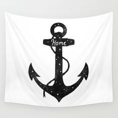 Home is where you set your anchor. <br/> <br/> anchor, nautical, sea, ocean, black-and-white, typography, vintage, stars, home
