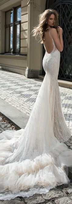 Berta Bridal Wedding Gown 2015 V Bridal Wedding Dresses, Dream Wedding Dresses, Wedding Attire, Wedding Veils, Bridal Style, Lace Back Wedding Dress, Lace Wedding, Celebrity Wedding Dresses, Backless Wedding